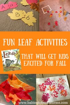 Get kids excited for fall with these fun leaf activities and crafts! #leafactivities #leafcrafts #leafbooks #fallcrafts #fallactivities #fallbooksforkids