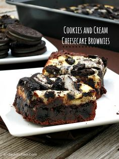Cookies and Cream Cheesecake Brownies are an easy recipe for a fudgy brownie mixed with chocolate sandwich cookies topped with cheesecake and then more cookies!