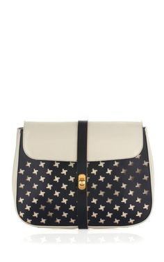 New Marni Two-Tone Perforated Nappa Pochette/Clutch Women Bag Ivory/Black $650 #Marni #Clutch
