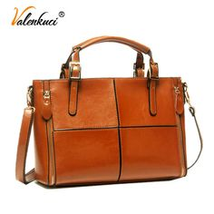 Valenkuci Women Genuine Leather Handbags Crossbody Bags For Women Messenger Bags Top-Handle Bags Cow Leather Tote Bag SD-072