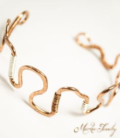 Squiggle Cuff Bracelet: Handcrafted, OOAK handcrafted jewelry, adjustable copper cuff bracelet(003)