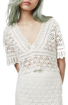 Topshop V-Neck Crochet Top available at #Nordstrom