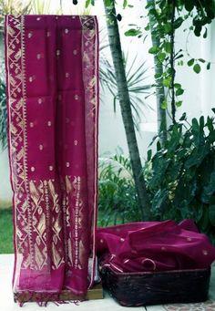 Bengal jamdani on kora silk saree