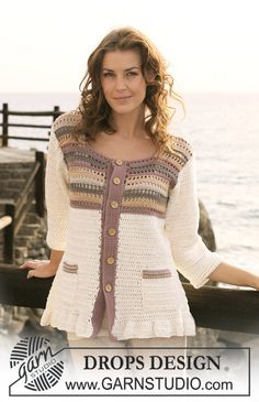"Cardigan DROPS all'uncinetto, con strisce colorate, in ""Muskat"". Taglie: Dalla S alla XXXL. ~ DROPS Design"