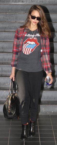 Jessica Alba arrives at LAX. So edgy.