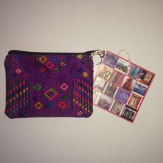 """""""Yob"""" Recycled Textile Pouch w/ Key Ring 5.5""""L x 4.5""""H. Handmade in Guatemala with recycled textiles Ketzali Bags Mini Bags"""
