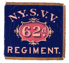 "The 62nd Regiment, or ""Anderson's Zouaves,"" mustered into service for three years on June 30 and July 1, 1861. When their three-year term expired, those entitled were discharged and the regiment, nine companies strong, continued in service as ""Veteran Volunteers,"" as indicated by the ""N.Y.S.V.V."" along the top of these blue silk flank markers. Both flags feature painted inscriptions in gold, shadowed in red, along the top and bottom."