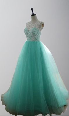 Retro Lace Covered Long Teal Princess Prom Gown KSP272