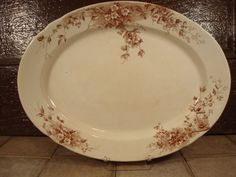 Large vintage white ironstone platter with brown floral transferware design- solid, weighty, Hawthorn, England by HeathersCollectibles on Etsy