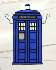 Police Box Stained Glass Suncatcher Blue by AwesomeSauceDesigns