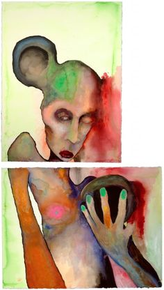 Anaclitism, 2001. Watercolor, two framed paintings, 30 x 22 in. Marilyn Manson