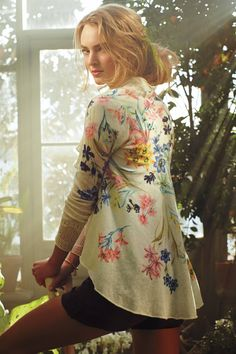 I like shape of this cardigan used with a light weight fabric. Anthropologie