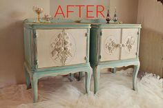 s 9 expensive looking furniture flips using cheap appliques, painted furniture, After Elegant vintage nightstands