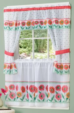 Kitchen Curtain Sets Unfinished Discount Cabinets 25 Best Complete Images Daisies Features A Garden Of Multi Hued Flowers On White Ground The Set