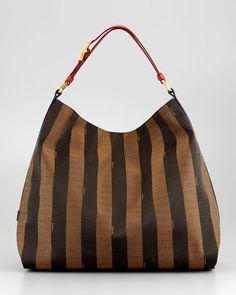 Pequin Hobo Bag, Red/Tobacco/Black