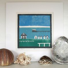 Linocut Beach Huts Lino Print Picture in Blue by michelewebber, £25.00