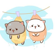 Cute Cartoon Pictures, Cute Love Pictures, Cute Kawaii Animals, Kawaii Cat, Chibi Cat, Cute Chibi, Kittens Cutest, Cute Cats, Cute Anime Cat
