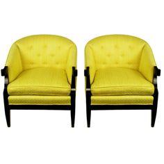 Pair Baker Club Chairs In Embroidered Saffron Silk #yellow #decor #interiordesign (via @1stdibs)