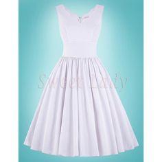 Snehovo biele vintage šaty na štýl 1950s