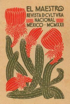 """illustration mexicaine : """"El maestro"""", 1922, couverture de magazine, botanique, cactus, fleurs, 1920s"""