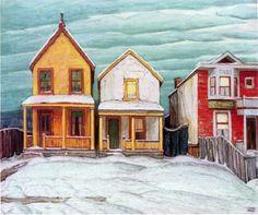 Winter Landscape Illustration Artists 28 Ideas For 2019 Tom Thomson, Emily Carr, Winter Landscape, Urban Landscape, Landscape Art, Landscape Paintings, Landscapes, House Paintings, Building Painting