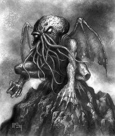 © 2005 Fantasy Flight Games Here's one from way back in for the Call of Cthulhu collectible card game . Lost Monastery of Cthulhu Cthulhu Tattoo, Cthulhu Art, Call Of Cthulhu, Hp Lovecraft Necronomicon, Lovecraft Cthulhu, Cool Sea Creatures, Eldritch Horror, Mountain Paintings, Creepy Art