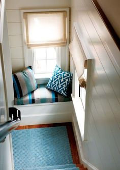Window seat, whether its a few throw pillows, curtain, or padded throw seat spice up the window seat with your style.