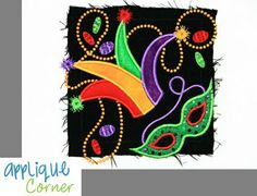 402 Jester Hat, Beads, Mask for Mardi Gras applique design in digital format for embroidery machine by Applique Corner. $4.00, via Etsy.