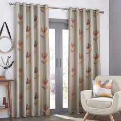 Blomma Floral Applique Eyelet Curtains | Dunelm