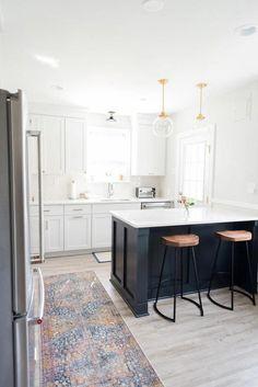 modern contemporary kitchen: hardwood flooring, custom island, black base cabinets (island), white c Apartment Kitchen, Home Decor Kitchen, Diy Kitchen, Home Kitchens, Kitchen Ideas, Kitchen Modern, Kitchen Colors, Kitchen Designs, Open Kitchen