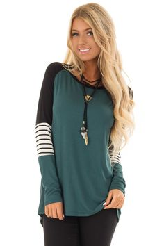 9b354c823f5 Lime Lush Boutique - Hunter Green Long Sleeve Top with Color Block Sleeves,  $36.99 (