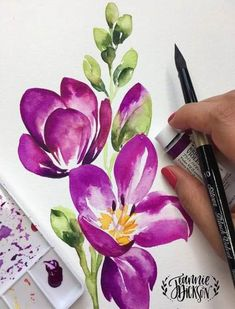 Inspiration to draw watercolor drawing watercolor flowers watercolor art violet flowers Watercolor Drawing, Watercolor Cards, Watercolor Illustration, Watercolor Flowers, Painting & Drawing, Drawing Flowers, Drawing Drawing, Painting Flowers, Gouache Painting