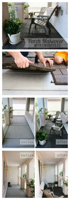 Back Porch ideas and photos to inspire your next home decor project or remodel. Check out Back Porch Decks photo galleries full of ideas for your home, apartment or office. Front Porch Makeover, Patio Makeover, Front Porch Remodel, Furniture Makeover, Porch Flooring, Porch Tile, Patio Tiles, House With Porch, Home Upgrades