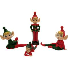 Four Vintage Ceramic Christmas Pixie Figurines 1960s Good Vintage Condition