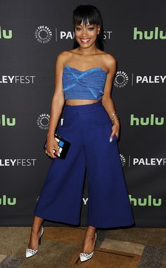 Brilliant Blue from Fashion Police  Scream Queens' Keke Palmerdons a N12H crop top and Tracy Reese trousers forthe 2016 PaleyFest in Los Angeles. The actress keeps the monochromatic look fresh with white Greymer pumps and a colorful Les Petits Joueurs clutch.