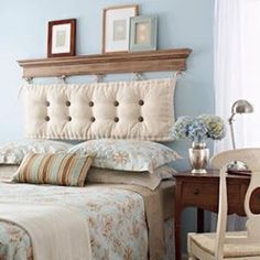 By hanging a chaise cushion from a shelf. A DIY headboard! Buttons and bows can be added for more personality and a pop of color too! headboard ideas cheap head boards 40 Cheap and Chic DIY Headboard Ideas Cheap Diy Headboard, Make Your Own Headboard, Diy Headboards, Creative Headboards Diy, Creative Beds, Vintage Headboards, Creative Decor, Bedroom Furniture, Bedroom Decor
