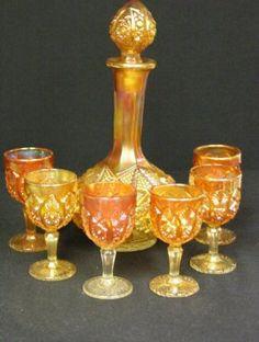 *7 PC CARNIVAL GLASS DECANTER SET ~ Marigold