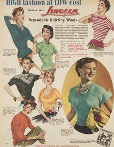 """1950s Fashion Illustration-For Knitted Tops for Women. """"High Fashion at low Cost-Dependable Knitting Wools"""". What cool 50s Tops? Great Fashion Inspiration! #1950s #1950sfashion #FashionDesign #FashionIllustration #Knitting #Wool #Illustration 1950s Fashion Women, Vintage Fashion 1950s, Fifties Fashion, Retro Vintage Dresses, Vintage Couture, Retro Fashion, Vintage Ladies, Vintage Outfits, High Fashion"""