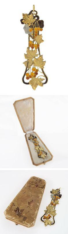 """René Lalique Art Nouveau Enamel and Gold Boxed """"Automne"""" Pendant…"""