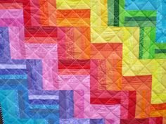 Rainbow quilt-Baby Quilt-lap quilt-Rainbow Rail Fence-Crib quilt-Bright colors-Playmat-Nursery-Don't Fence Me In on Etsy, $70.00