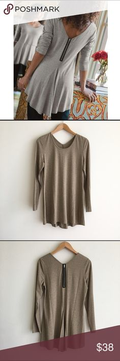 Soft Surroundings Brown Exposed Zipper Top Light brown color. Exposed zipper in back with pleat. Round neckline. V back. Long sleeves. Stretchy knit fabric. EUC Soft Surroundings Tops Tees - Long Sleeve