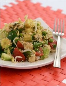 Baby corn, Bean Sprouts and Cucumber Salad