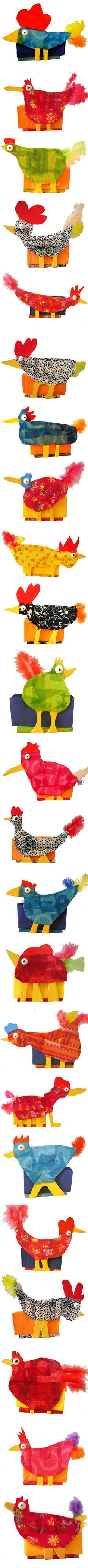Chickens and roosters - paper mache.  I LOVE LOVE LOVE these!!!