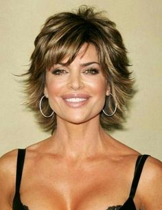 Corte con estilo Short Curly Updo, Short Curly Hairstyles For Women, Curly Hair Updo, Hair Styles For Women Over 50, Hairstyles Haircuts, Curly Hair Styles, Lisa Rinna Haircut, Short Shag Haircuts, Cut And Style