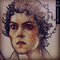 And more Happy Alien's Day!!!#Repost #Ripley #Alien #SigourneyWeaver #wip #drawing #portrait #draw #pencilcolors #pen #fabercastell #pilotpen #badass #art #fanart #instagramers #insta #instagood #commission #crosshatching by subversivegirl