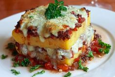 """This Polenta """"Lasagna"""" is Italian comfort food at its finest. Beautiful in presentation and delicious to the taste."""