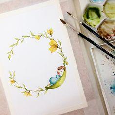 Watercolor logo 🍃 #art #открытка #sketch #picture #рисуюкаждыйдень #drawing  #artist  #illustration #love #подарок #акварель #художник #иллюстрация #ручнаяработа #дизайн #скетч #handmade #рисунок #watercolor #брошь #любовь