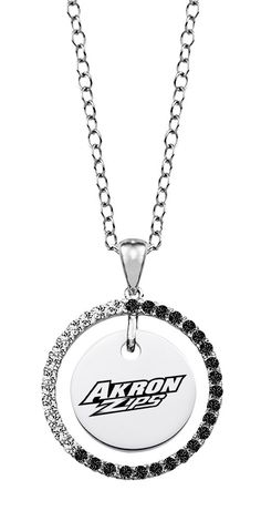 """Akron Zips Black and White Cz Circle Necklace. Officially Licensed. Chain Length is 16"""" with a 2"""" Extender. Number of Stones: 35. Charm Size is 18mm (size of a penny). """"the indicia featured on this product is a protected trademark owned by the respective sorority""""."""