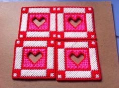 4 pc. Plasstic Canvas Valentine Coaster Set by ritascraftsandmore on Etsy
