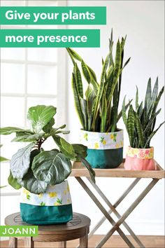The brighter, the better! Give each of your plants a new fabric planter that's both pretty and practical. Sewing Hacks, Sewing Projects, Sewing Ideas, Shuttle Tatting Patterns, Recycling Containers, Large Baskets, Creative Skills, Diy Planters, Canvas Fabric
